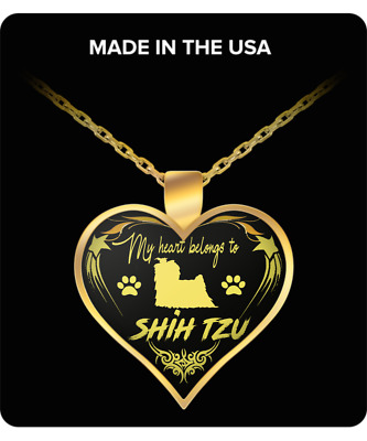 Shih Tzu Dog,Chinese Lion Dog,Chrysanthemum Dog, Heart Pendant Necklace