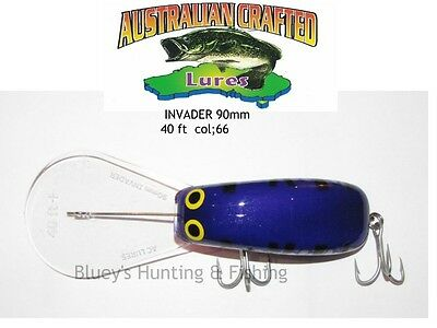 Australian Crafted Lures- cod 90mm invader purple col;66, 40ft a.c lures