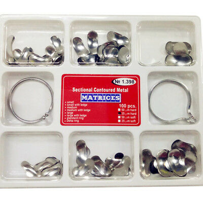100Pcs Dental Matrix Sectional Contoured Metal Matrices No.1.398 Full Kit+2 Ring