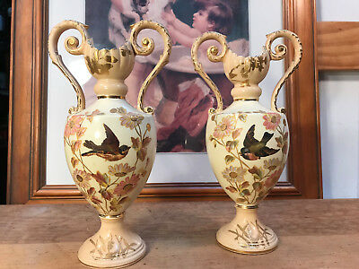 Pair Antique Victorian English Mantle Double Handled Vases with Flowers & Birds