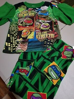 NWT Nickelodeon Ninja Turtles Fleece 2-piece Pajamas boys size 8 PJ's Sleepwear