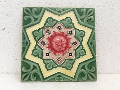 Tile Japan Art Deco Majolica Ceramic Porcelain Flower Design Green Collectible
