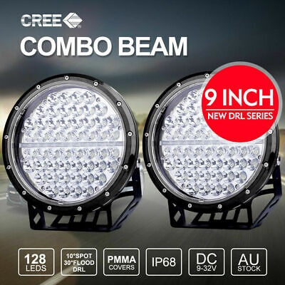 Pair 9 inch LED Driving Lights CREE Round Spotlights With DRL Black 4X4 12V 24V