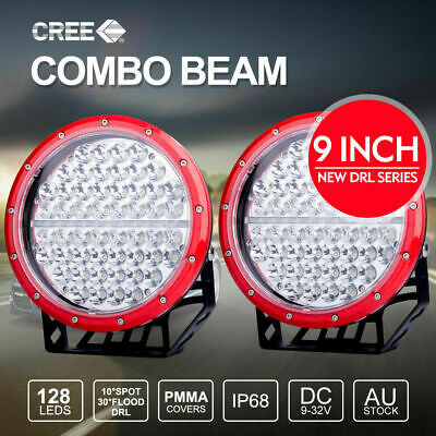 Pair 9 inch LED Driving Lights CREE Round Spotlights With DRL RED 4X4 12V 24V