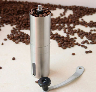 Handheld Mini Manual Coffee Grinder Bean Conical Burr Mill Brushed Stainless