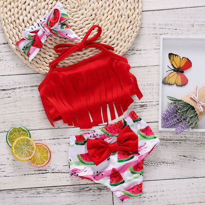 47c4ad5ce1da3 UK Summer Kids Baby Girl Children Watermelon Swimwear Bikini Set Swimsuit  Tassel