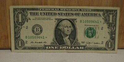 $1 FRN Star Note B 10509641 * Series 2013 New York New York