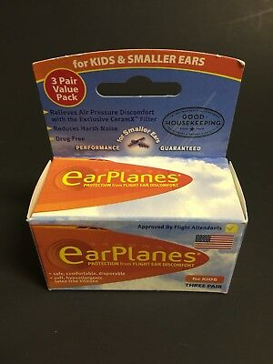 Original Children's EarPlanes Ear Plugs Airplane Travel Ear Protection 3 Pair