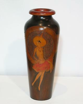 Exceptional Large 30.5cm 1920s Pokerwork Vase with Deco Dancer