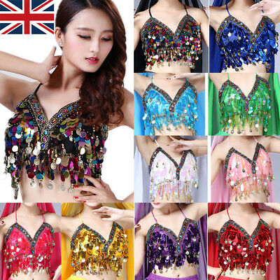 Belly Dance Bra Sequined Beaded Top Sexy Dancing Costume Fringe Costume New UK