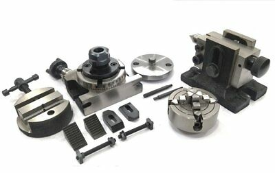 "Rotary Table 3""+Er20+M6 Clamp Kit+Round Vice+Tailstock+70 Mm 4 Jaw Independent"