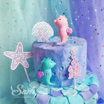 Pink Green Mermaid Tail Shell Starfish Cake Topper Seahorse Cake Decoration