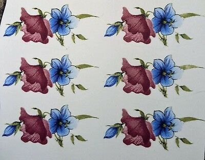 6 Floral Waterslide Decals       Ideal For Crafts and Ceramics
