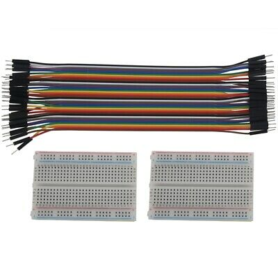 2X 400 Point Solderless Prototype Breadboard Protoboard+40 DuPont 20cm M-M Y1B2