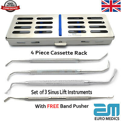 3Pcs Sinus Lift Implant Surgical Tools With Cassette & Free Band Pusher