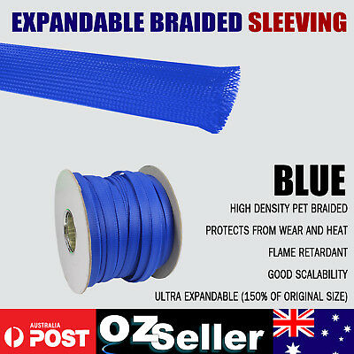 Expandable Braided Cable Sleeving Auto Wire Harnessing Sheathing Protection Blue