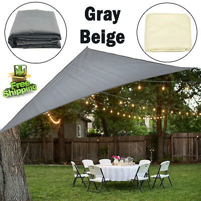 UV SUN SHADE SAIL AWNING Canopy Waterproof Triangle Rectangle Grey Beige Outdoor