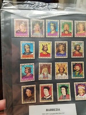 Barbuda Stamps 42/78 Mnh Queens & Kings Of England