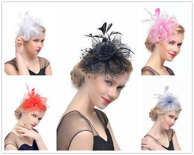 Lady Flower Feather Beads Details Fascinator for Royal Ascot Race Wedding Party