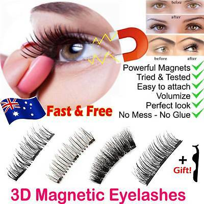 AU 4-8Pcs 3D Magnetic Soft False Eyelashes Natural Eye Lashes Extension Tweezer