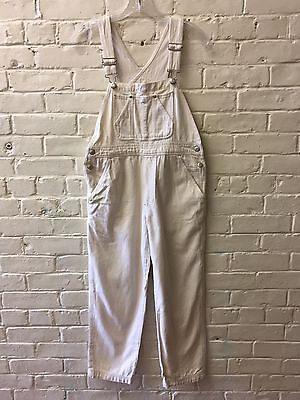 Vtg Gap Large Girl Ivory Cotton Overalls EC