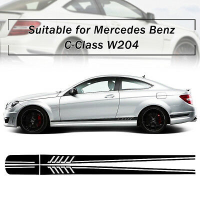 Fashion Stripe Side Sticker Decals Black Car DIY For Mercedes/Benz C Class W204