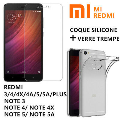 Film Protection Verre Trempé Xiaomi REDMI NOTE 8 8T 8Pro 7 4X 4 5A 5 + Coque TPU