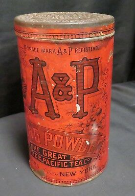 Vintage A & P Baking Powder Paper Covered Tin, 2lbs, Empty
