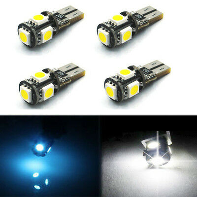 T10 501 W5W Car Side Light Bulbs Error Free Canbus 5 Smd Led Xenon White Iceblue
