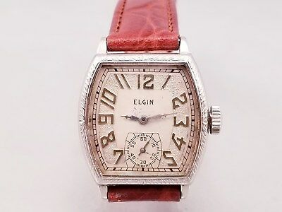 ELGIN GENTS 1930.s 14K WHITE GOLD FANCY ETCHED CASE  HAND WIND JUST SERVICE