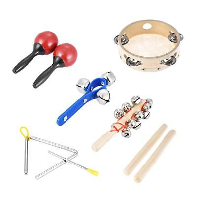 6pcs Musical Instruments Percussion Toy Rhythm Band Set Tambourine Triangle T1R0