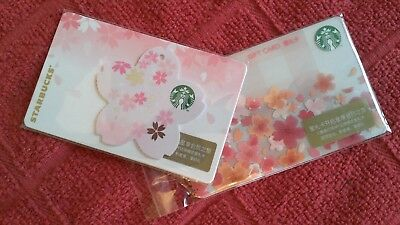 CUTE! STARBUCKS 2018 China Sakura Die Cut Flower & Regular Sakura Gift Cards US!