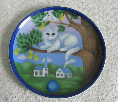 "ARZBERG Germany KATHIA Porcelain CAT in TREE 3.75"" Mini PLATE"