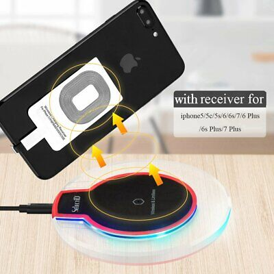 Qi Wireless Charger Pad Dock Charging +Receiver for iPhone 5/6s/7/8/Plus/SE/X
