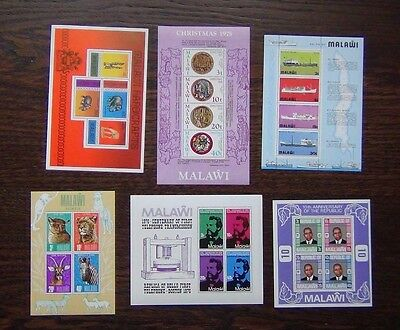 Malawi 6 x M/S 1975-77 Ships Animals Telephone Handicrafts Republic etc MNH