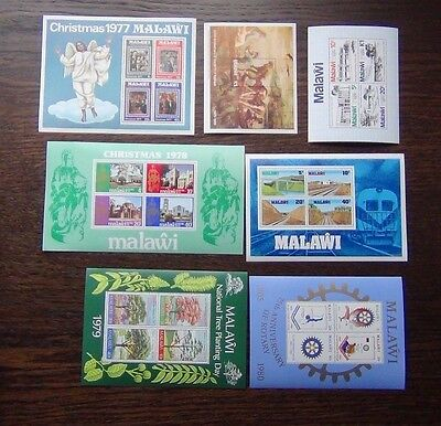 Malawi 7 x M/S 1977-83 Raphael Xmas Trees London 1980 Railway Rotary etc MNH