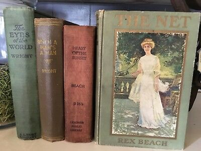 Lot Of 4 Vtg Old Antique Books Farmhouse Library Cottage Shabby Decor Stack Prop