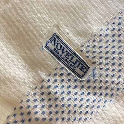 ANTIQUE Vtg bedspread coverlet NOVELITE woven ivory french blue  FARM CHIC tag