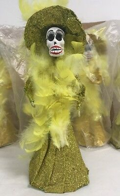 """12"""" Catrina Mexican Doll Day of Dead Paper Mache Gold NEW HAND MADE IN MEXICO"""
