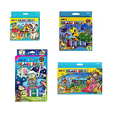 Stained Glass Window Glass Paints Kids Art Activity Pack Colouring Pads Gift Set