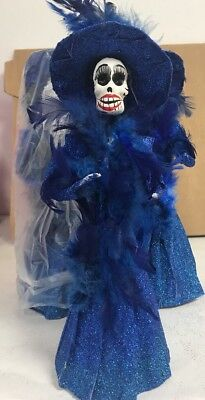 """12"""" Blue Catrina Mexican Doll Day of Dead Paper Mache NEW HAND MADE IN MEXICO"""