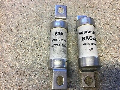 BA063 Off Set Bolted Tag BS88 Fuse 63 Amp Bussmann Quantity 2