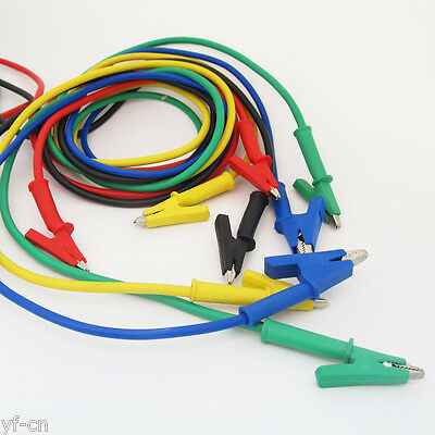 10sets 5colors Silicone High Voltage Alligator Clip to Alligator Clip Test Leads
