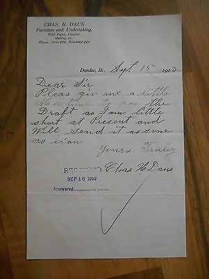Antique 1903 Chas H Daus Furniture & Undertaking Dundee Illinois Letter Paper