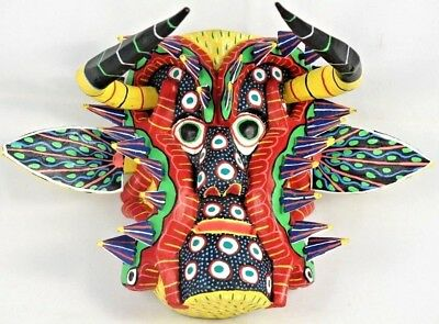 Mexican Wood Hanging Mask Folk Art Hand Made Collectible Home Decor Red Lizards