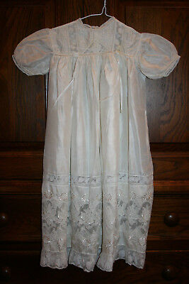 Vintage Ivory Silk Christening Gown With Matching Bonnet