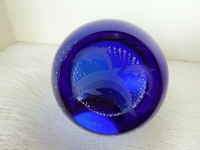 Caithness Scotland Glass Dolphin Paperweight