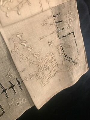 FAB! Antique Lily of the Valley Embroidery Hanky Very Detailed Hand Work Wedding