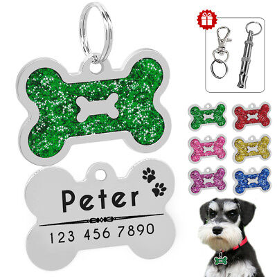 Personalized Dog Tags Engraved Puppy Pet ID Tag Bone with Free Glitter&Whistle
