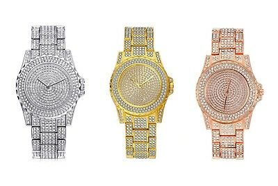 Men Hip Hop  out Gold Tone Techno Pave Bling Simulated Crystal Rapper Watch